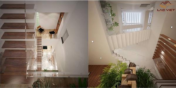 Cầu thang nhà phố lệch tầng