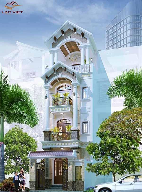 Mẫu nhà phố mái Thái 4 tầng đẹp