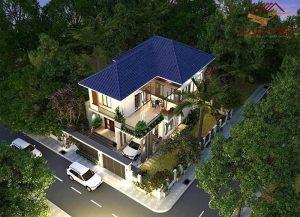 Thiết kế nhà 2 mặt tiền mái thái lộng lẫy