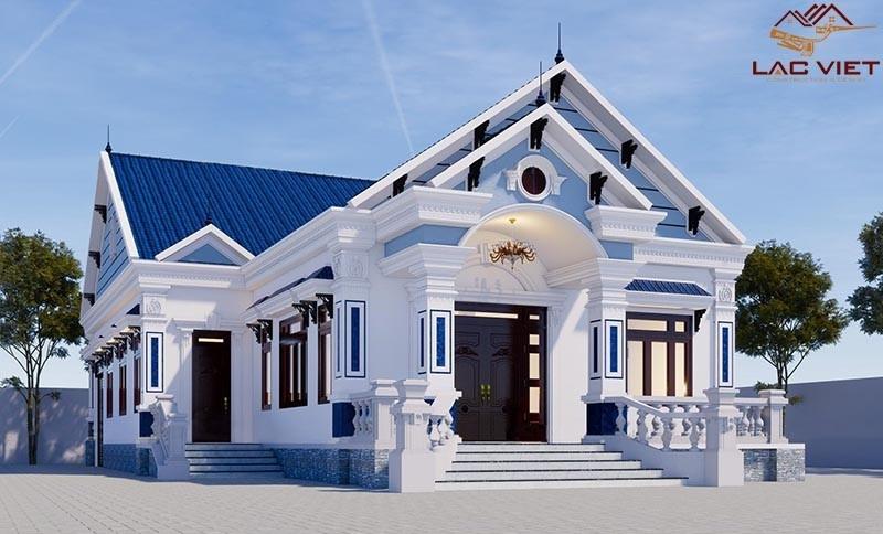 Mẫu thiết kế nhà cấp 4 đẹp mái thái với tone nền xanh nhẹ nhàng
