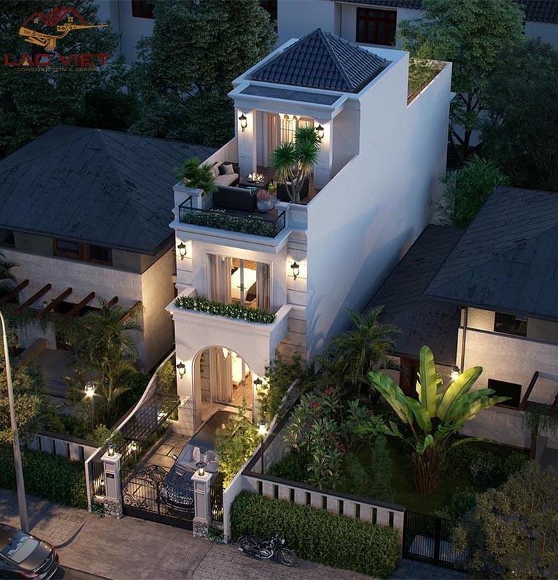 Mẫu nhà phố 2 tầng đẹp sang trọng thiết kế với mái thái