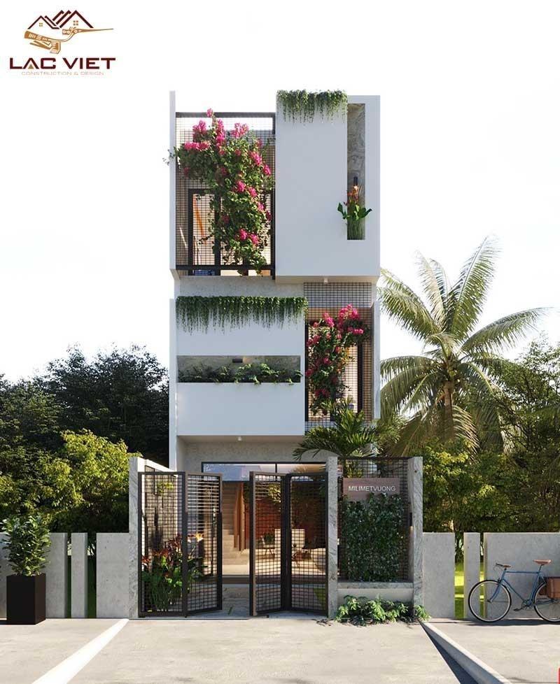 Mẫu mặt tiền nhà phố đẹp, ấn tượng với cây hoa giấy màu đỏ rực