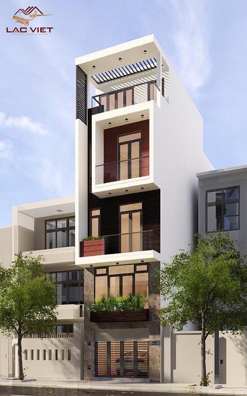 Mẫu nhà đẹp 3 tầng với mái bằng