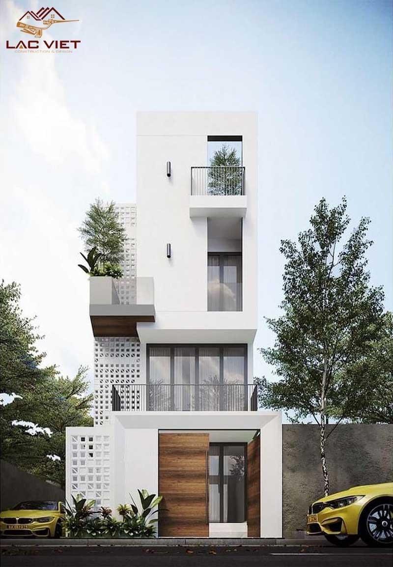 Mẫu nhà phố 3 tầng với tông màu trắng là màu chủ đạo