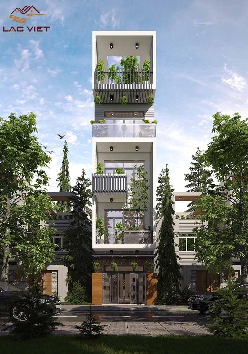 Tầng 4 của ngôi nhà bố trí cây xanh tạo không gian thư giãn, thoải mái cho gia chủ