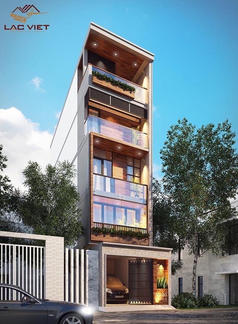 Mẫu nhà phố 4 tầng mang phong cách hiện đại kết hợp với cửa kính mặt tiền