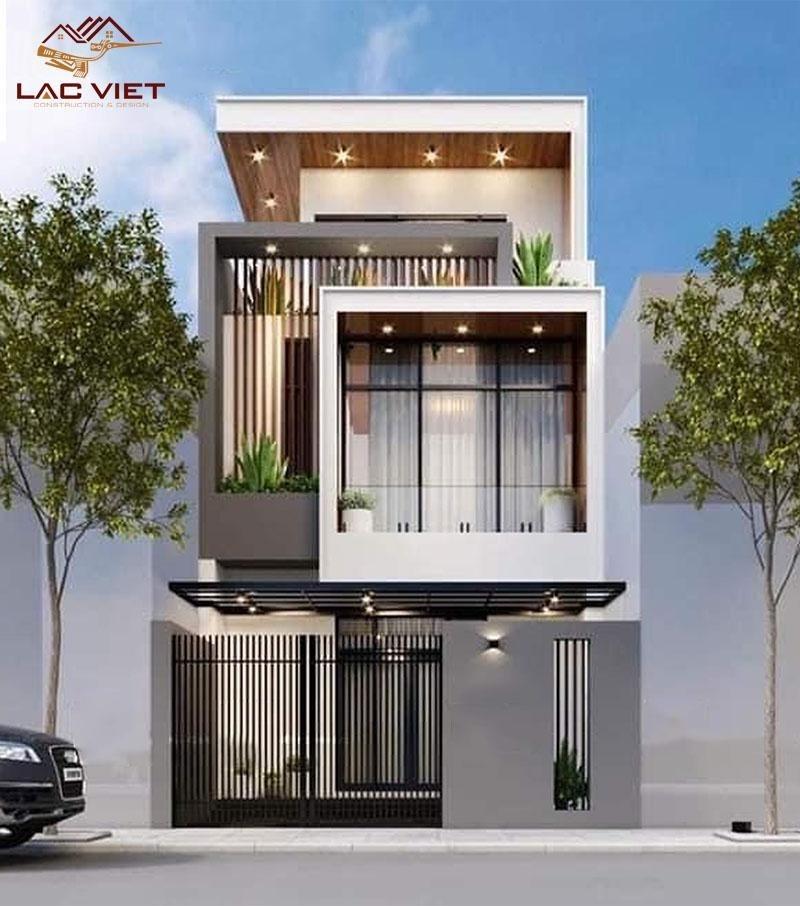 Mẫu nhà phố thiết kế vuông vức kết hợp với khung nhôm kính cường lực