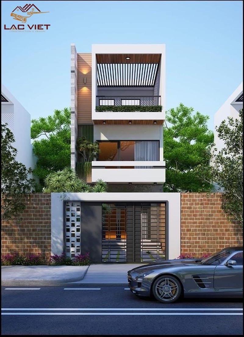 Mẫu nhà phố thiết kế với mái bằng