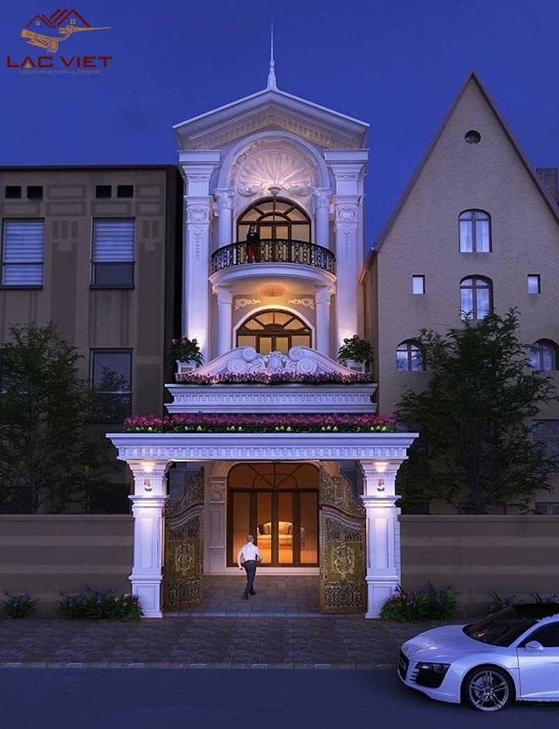 Mẫu nhà phố thiết kế với phong cách tân cổ điển gồm 3 tầng
