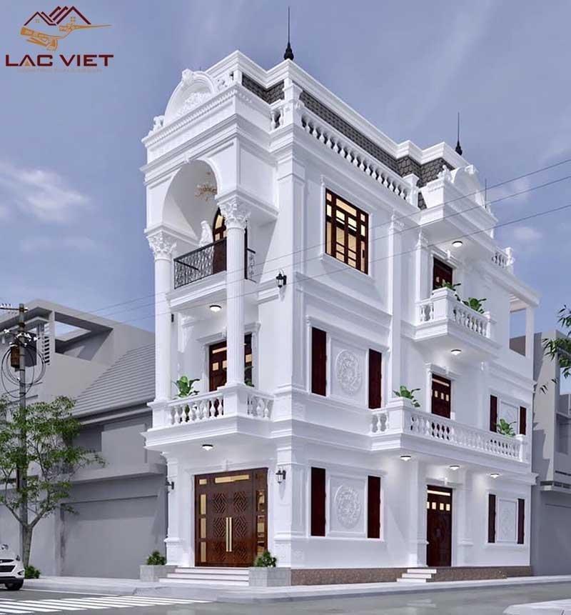 Mẫu nhà phố thiết kế theo phong cách tân cổ điển với gam màu trắng sang trọng