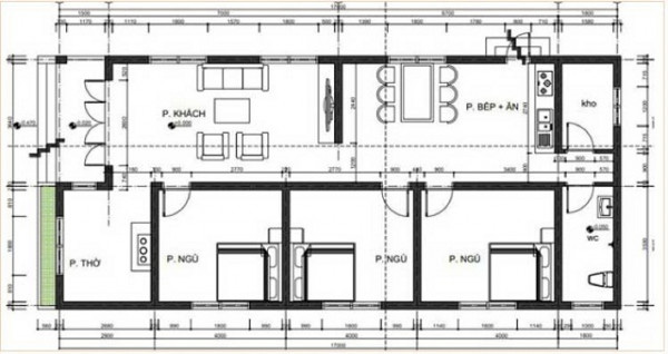 Bản vẽ thiết kế nhà cấp 4 mái thái thông dụng