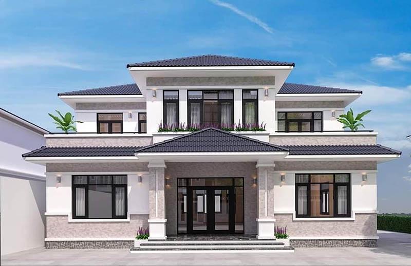 Mẫu nhà có hệ mái 2 tầng đối xứng