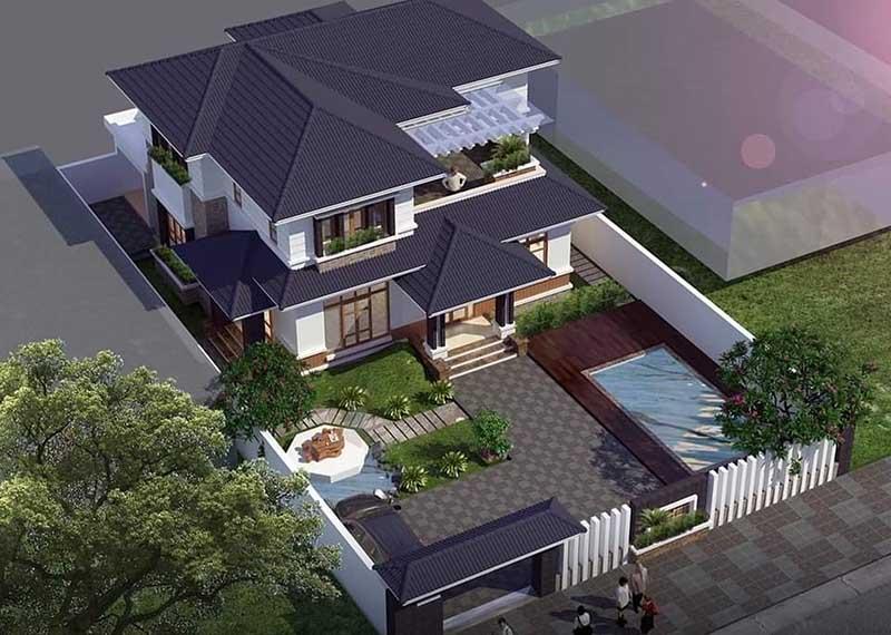 Mái nhà 2 tầng có thiết kế đẹp