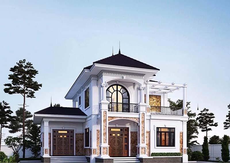 Thiết kế nhà tân cổ điển mái nhật