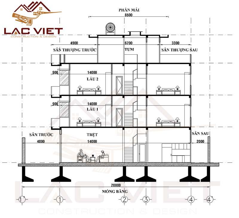 Cách tính diện tích xây dựng nhà phố 5m x 20m