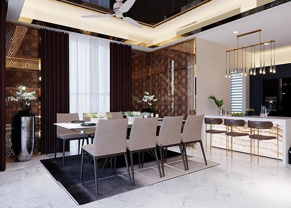 Nhà bếp cùng tông màu với phòng khách