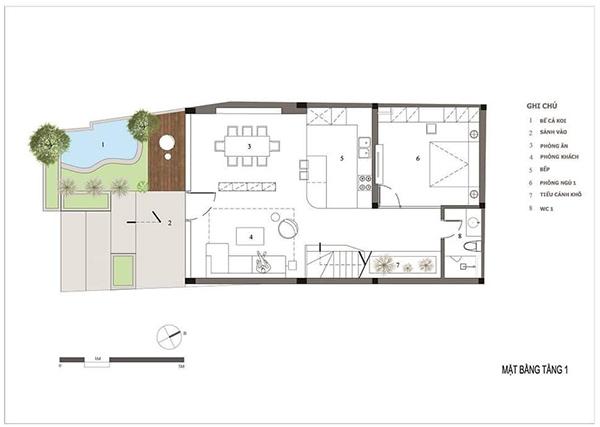 Bản vẽ tầng trệt mẫu nhà mặt tiền 7m
