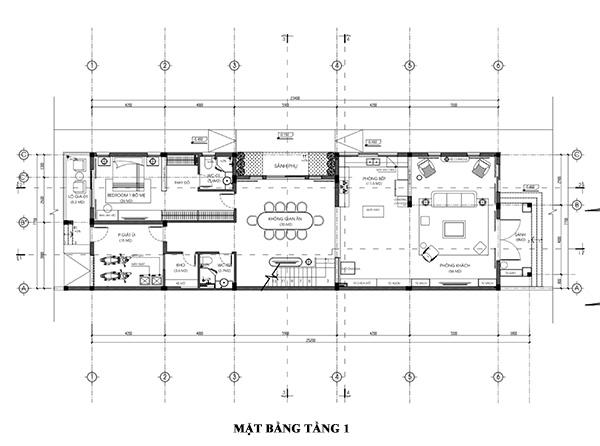Bản vẽ thiết kế mặt bằng tầng 1