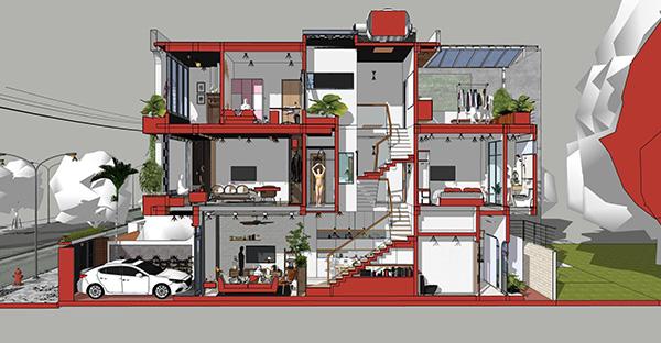 Bản vẽ thiết kế nhà phố 3 tầng 4x15m