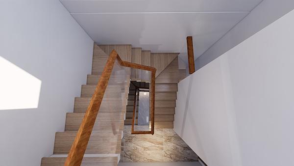 Bậc cầu thang ốp gỗ sang trọng
