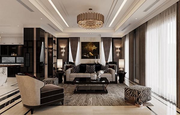 Phòng khách mang phong cách tân cổ điển sang trọng