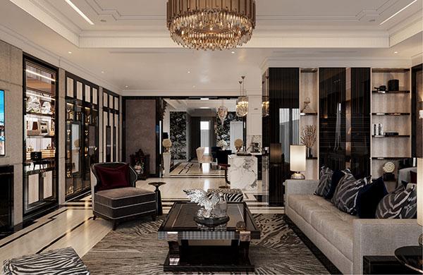 Thiết kế nội thất phòng khách với tông màu xám đen chủ đạo