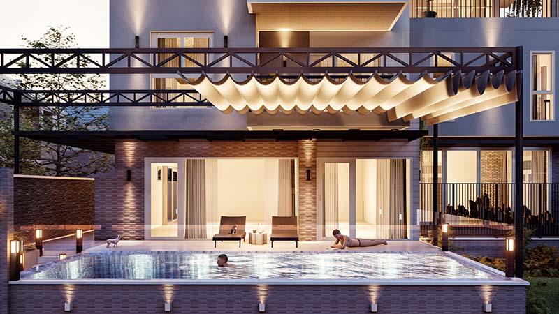 biệt thự 3 tầng có hồ bơi