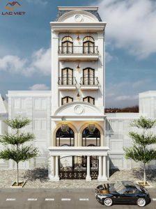 Mẫu số 10 - Nhà phố cổ điển 5 tầng với thiết kế bất đối xứng