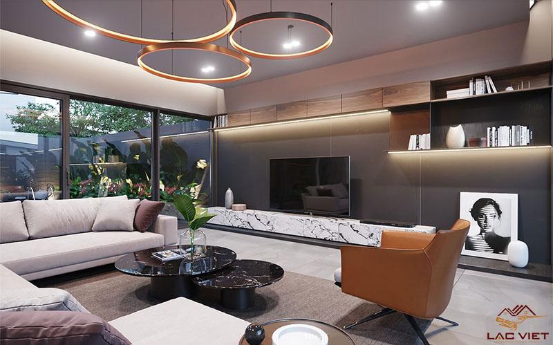 phòng khách với phong cách tối giản