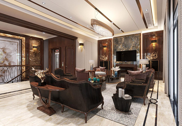 Phòng khách với thiết kế sang trọng và màu sắc ấn tượng