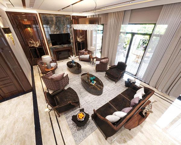 Sử dụng nhiều chất liệu tự nhiên cao cấp trong xây dựng và nội thất.