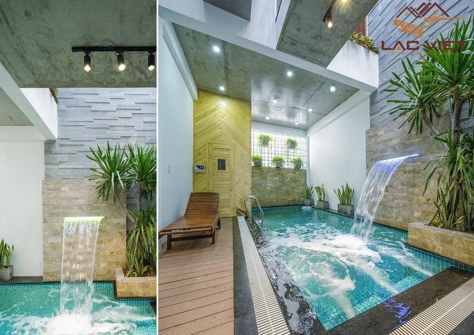 Bể bơi nhỏ và phòng xông hơi hiện đại