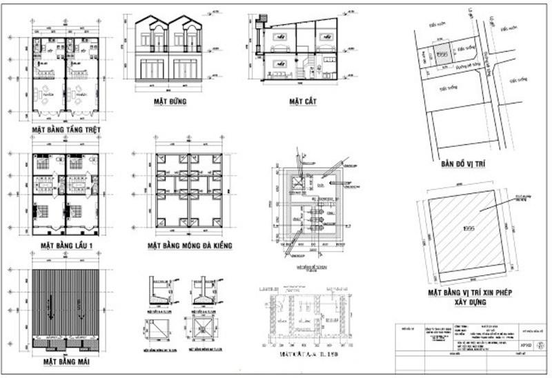 Mẫu bản vẽ xin cấp phép xây dựng nhà phố