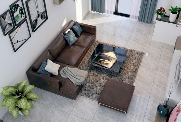 Không gian phòng khách được thiết kế đơn giản, sử dụng tông màu sáng, trẻ trung, hiện đại và sang trọng
