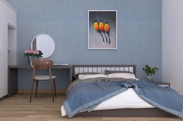 Phòng ngủ thiết kế đơn giản và trang trí hài hòa theo tông màu sáng chủ đạo của ngôi nhà