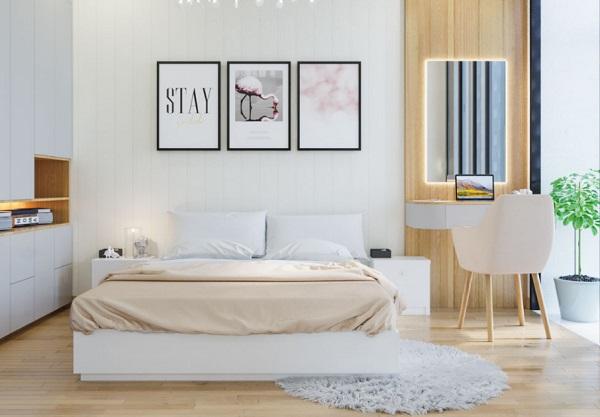 Phòng ngủ được thiết kế tinh tế nhờ sự hòa quyện giữa cách trang trí không gian và màu sắc