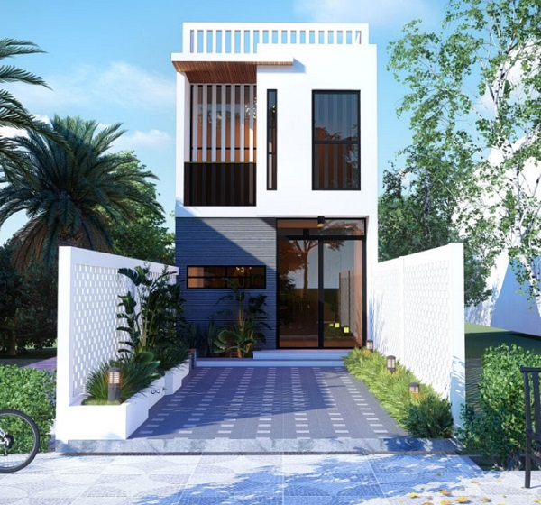 Ngôi nhà nhỏ được thiết kế ngay mặt tiền sang trọng, kiên cố. Ở hai bên được trồng nhiều hoa để bạn tận hưởng không gian trong lành