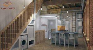 Nếu bạn không có một phòng giặt là riêng thì hãy mạnh dạn biến gầm cầu thang thành nơi hữu ích hơn
