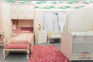 Phòng ngủ ngọt ngào dành cho bé gái và bé sơ sinh