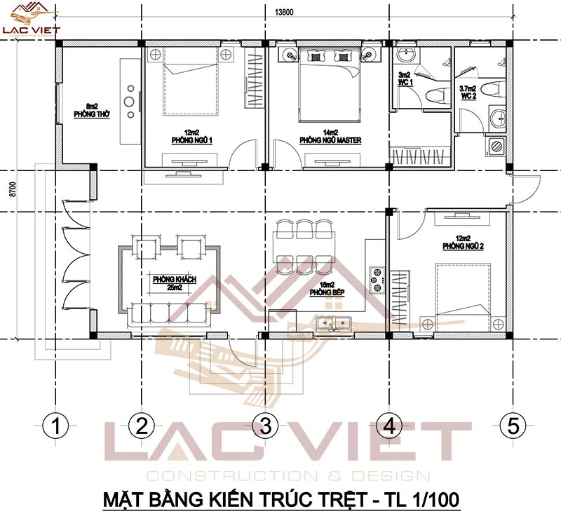 Bản vẽ nhà cấp 4 mái thái 120m2