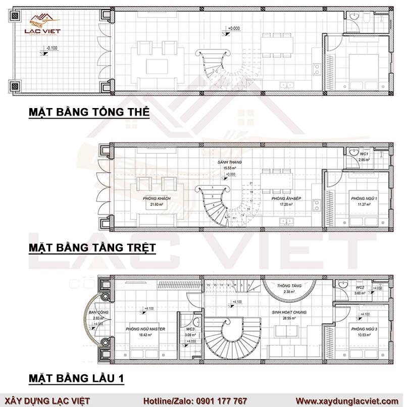 Bản vẽ nhà phố 2 tầng tân cổ điển 5x20m