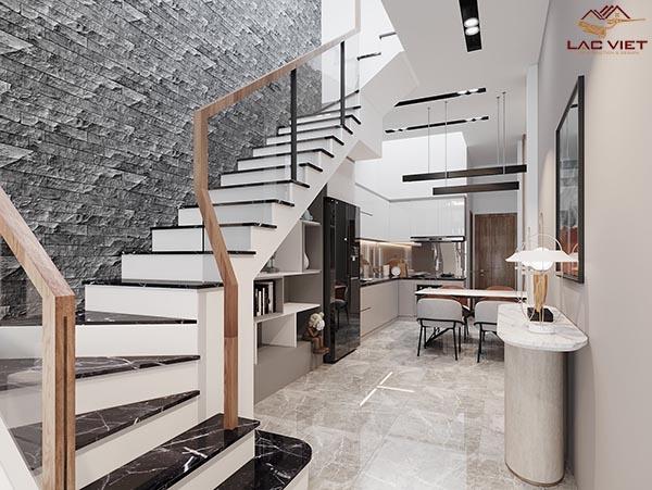 Cầu thang mẫu nhà hẹp ngang 3m