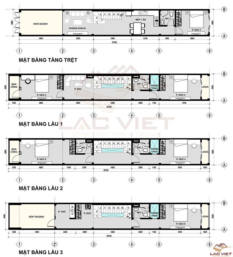 Bản vẽ thiết kế nhà hẹp ngang 3m