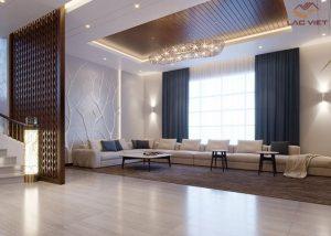 Mẫu 07 - Thiết kế trần phòng khách sử dụng hệ thống đèn ấn tượng