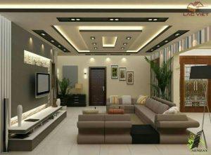 Mẫu 06 - Thiết kế trần phòng khách sử dụng hệ thống đèn ấn tượng